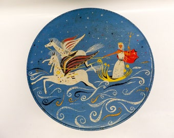 Absolutely stunning round storage tin - stylized Poseidon illustration