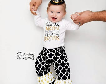 Baby Girl First New Years Eve Outfit, Toddler Girl NYE New Years Outfit for girls, My 1st New Years, Kiss Me Now Midnight is Past my Bedtime