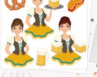 Oktoberfest celebration woman clip art, german beer fest, pretzel, ale, bratwurst octoberfest, blonde, brunette and auburn hair (Carly L283)
