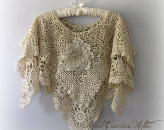 Victorian Chic Shawl, Shabby Look, Two Layers of Vintage Crochet, Shades of Beige and Cream, Small to Medium, Boho Chic, Bridal or Wedding