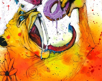 """Psychedelic Cat - Saber Tooth Tiger - Cat Painting - Surreal Illustration - """"Saber Sweet Tooth"""" by Far Out Arts"""