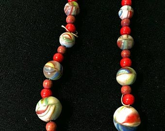 Vintage 1920s Czech Marble Bead Necklace Hand Crafted Art Glass Red Blue Green Marbled 20s Choker Necklace Dimpled Pinched Glass