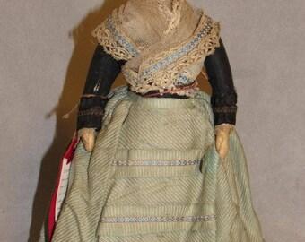 """13"""" French-type Antique Papier Mache Doll, Original Clothes"""