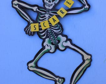 Vintage Inspired Hanging Skeleton, with Top Hat and SCARE