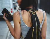 TRI ZIPPER Leather Hip Bag Backpack and Fanny Pack w/ Gold Hardware