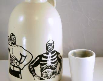 luchador mezcal jug moonshine whiskey handmade
