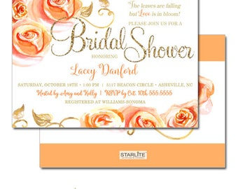 Autumn Themed Bridal Shower Invitations, Fall Bridal Shower Invitation, Fall Shower Invite, Gold Glitter Floral Peach Orange Roses Printable