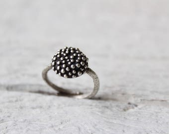 Dot ring-Sterling silver bubble ring-Statement ring-Granulation -Polka dot ring-Women's ring-Organic jewelry -Minimalist ring-Gift for her