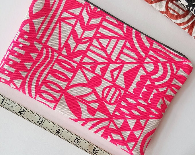 Zippered Pouch: Organic Screenprinted Fabric in Neon Pink