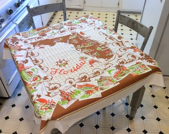 Vintage Souvenir Tablecloth Fun & Fabulous Florida