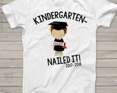 Kindergarten graduation shirt - funny kindergarten nailed it boys personalized graduation Tshirt  mscl-062