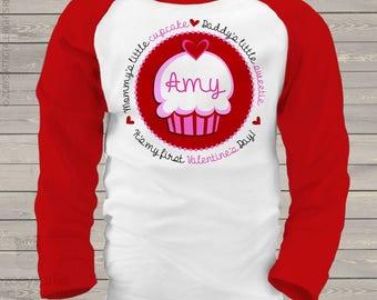 First Valentine Day mommy's little cupcake daddy's little sweetie red hearts RAGLAN shirt  snlv-041-r