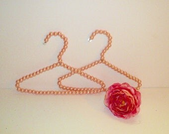 Pink Pearls Child's Hangers Set Baby Gift Handmade Girl Bedroom Decor