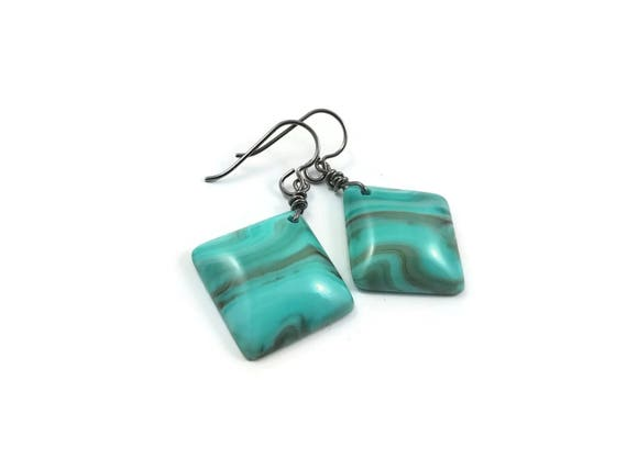 Turquoise marbled square drop dangle earrings - Hypoallergenic pure titanium and resin earrings