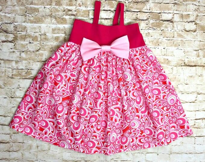 Pink Photoshoot Dress - Baby Girl Dress - Toddler Girls Clothes - Big Bow Dress - Little Girls Cotton Summer Dress - Sizes 6 months to 8 yrs