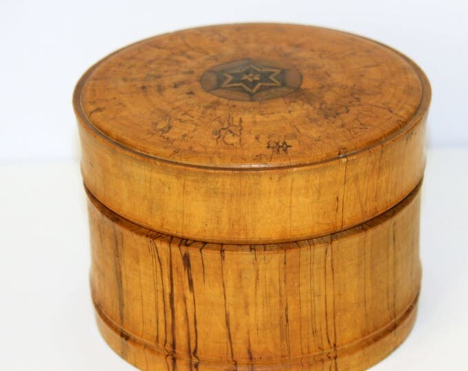 Antique Wood Snuff Box Humidor, Tobacco Jar, Folk Art Inlaid Wooden Storage Container