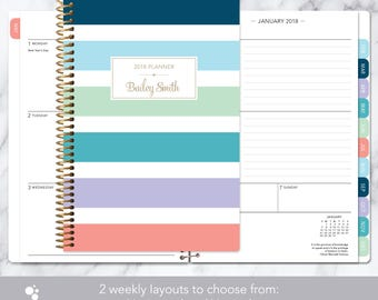 2017 2018 planner 12 month calendar | add monthly tabs weekly student planner | personalized planner agenda daytimer | colorful stripes big