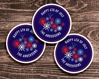 Personalized 4th of July Tags or Stickers – 2, 2.5 or 3 Inch Circle – DIY Printable – Fireworks (Digital File)