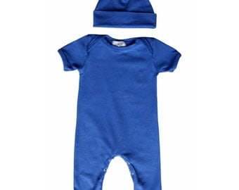 Baby Romper with Matching Hat-Royal Blue