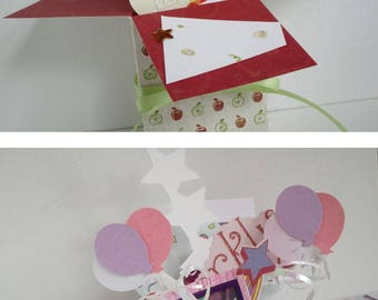 Teacher Appreciation and Sparkle Thank You pop up Exploding Box Card -- Free Shipping in USA