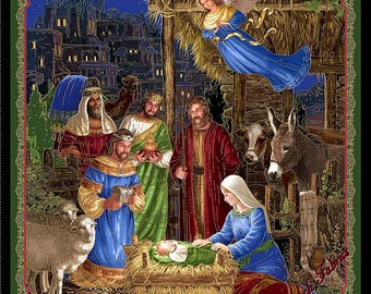"Quilting Treasures ""In Bethlehem"" 25909-X Nativity Manger Jesus Christmas Fabric Panel 35"" x 44"""