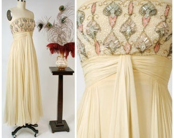 Vintage 1960s Gown - Rare HELENA BARBIERI Exquisite Custom Made Silk Chiffon 60s Strapless Dress with Beaded Bodice Bergdorf Goodman
