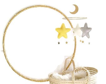 Gold Yellow baby Mobile-Yellow and grey Star Mobile-baby mobile-nursery decor-the butter flying-neutral nursery mobile-hanging mobiles-crib