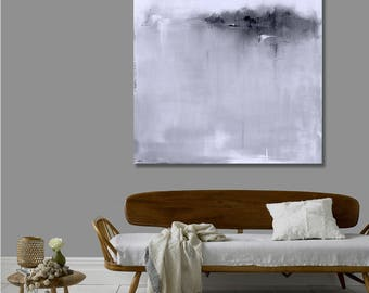 Ready to Hang Minimalist Black and White Abstract Landscape, Canvas Print, Large Landscape Print, Modern Art, Pottery Barn Artist, Wall Art