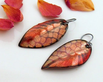 Leaf Earrings, Rich Autumn Enameled Dangles, Copper Enamel Abstract Art Leaf Dangles, Patterns & Texture Nature Inspired, One of a Kind Gift