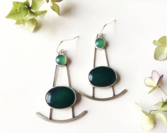 abstract earrings-sterling silver earrings-artisan earrings-green agate-green earrings-agate earrings-abstract jewelry-geometric