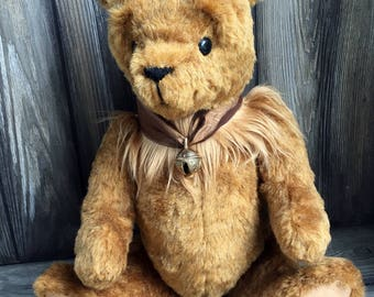 Traditional copper fur jointed Artist teddy bear 18 inch by Karen Knapp of Tindle Bears