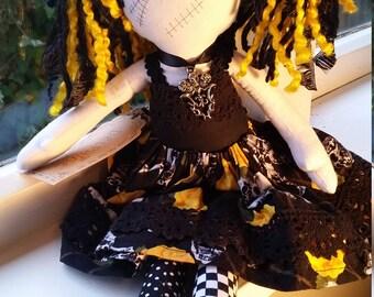 Goth Dolls - Delphine - a goth style rag doll