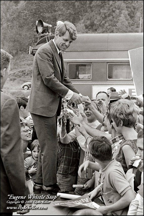 EUGENE WHISTLE STOP, Robert F. Kennedy, Clyde Keller 1968 Photo