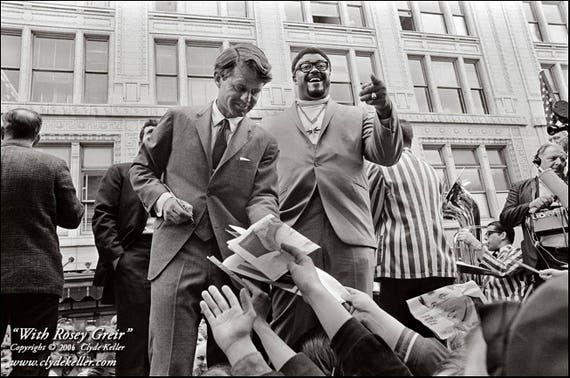 Robert Kennedy,  ROSEY GRIER, Clyde Keller Photo, Fine Art Print, Black and White, Signed