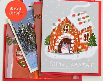 Christmas Cat Cards - Set of 4 - Mixed Set - Funny Christmas Cards for Cat Lover