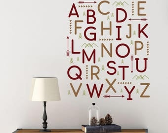 Woodland Alphabet Wall Letter Decals, Baby Nursery Wall Decor, Alphabet  Letters For Wall,