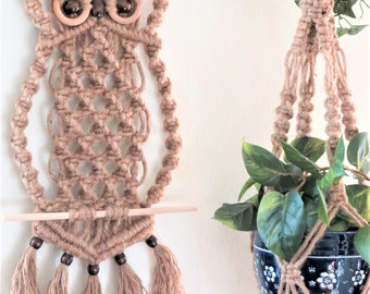 Owl Macrame - 70s Macrame - Jute Macrame Wall hanging Owl - Owl Decor - Owl Home Decor - Hippie Boho Decor - Wall Tapestry - Owl Wall Art