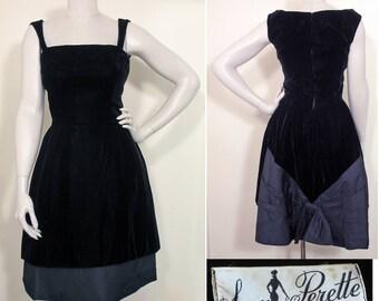 1950s Vintage Black Velvet and Silk Cocktail Party Dress by Suzy Perette SZ S