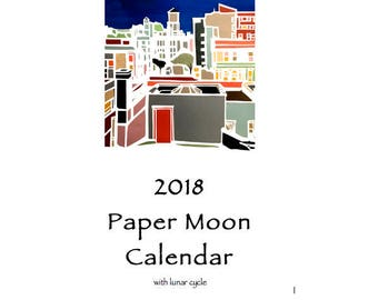"Paper Moon 2018 Calendar - approx 4.25"" x 11"" - hangs with ribbon"