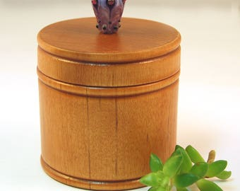 Elegant Little Wood Box with Lavender Lampwork Glass Knob/Finial