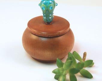 Tiny Wood Trinket Box with Aqua Lampwork Glass Victorian Bauble Knob/Finial