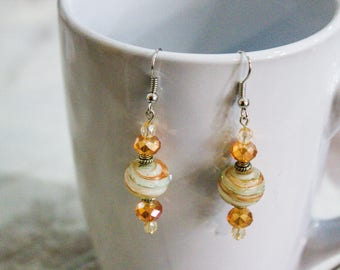 Dangle Earrings -  Golden Swirl