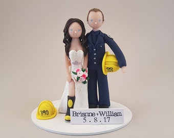 Bride & Groom Personalized Firefighters Wedding Cake Topper