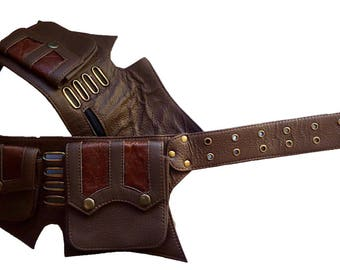 Leather Utility Belt   Brown, 5 pockets   travel, cosplay, festival