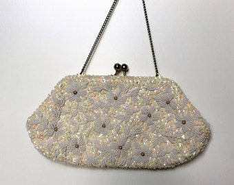 Vintage 1960's Richere Hong Kong Beaded White and Cream Evening Bag - Hand Beaded