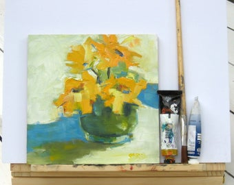Yellow Flower, Still Life Oil Painting, Daisy Art, Wall Art, Yellow, Orange Blue Painting, Free Shipping, Oil On Panel, Teal and Green Art