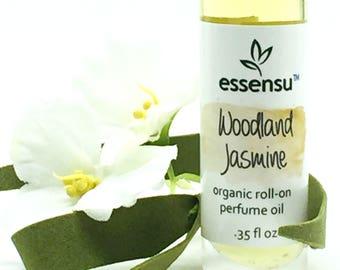 Woodland Jasmine Organic Roll-On Artisan Perfume Oil | Natural Roller Bottle Perfume | Non-Toxic Fragrance | Original Scent | Vegan - .35 oz