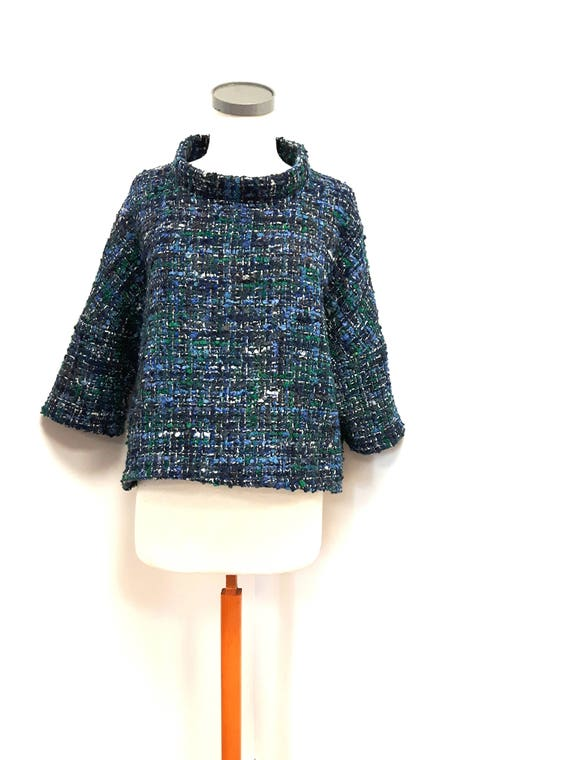 Women clothing, classic style, loose fit top, wool-cotton blend, blue and green shades, stylish jacket, one size