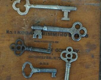 5 Vintage metal gothic old skeleton keys