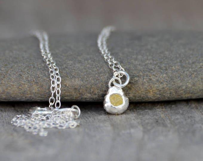 Raw Diamond Necklace, Rough Diamond Necklace, Yellow Diamond Necklace, April Birthstone Necklace